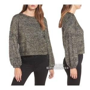 Leith Metallic Tensil Puffy Sleeve Sweater